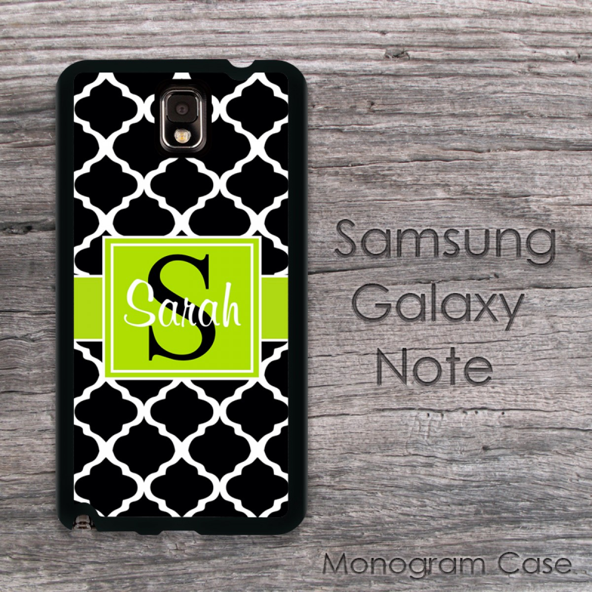 Lime Decoration Black Moroccan Pattern Samsung Hard Cover