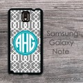 Moroccan white gray teal monogrammed Samsung hard case