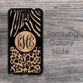 Zebra cheetah print black tan monogrammed Galaxy Note case