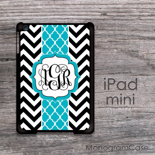 black white chevron with turquoise monogrammed ribbon iPad mini case