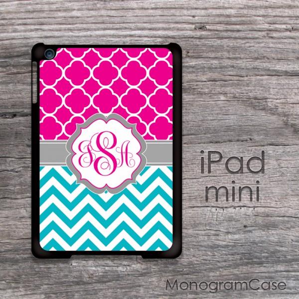 Hot pink monogrammed iPad mini case turquoise chevron