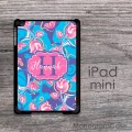 Pink tulips blue background watercolors for iPad mini case