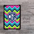 Rainbow colors chevron navy blue monogrammed iPad mini