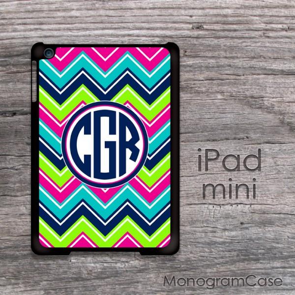 Rainbow colors chevron navy blue monogrammed iPad mini