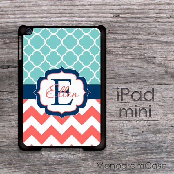 Soft blue navy coral design customized iPad min cover