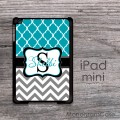 Teal quatrefoil light grey chevron customized iPad mini cover