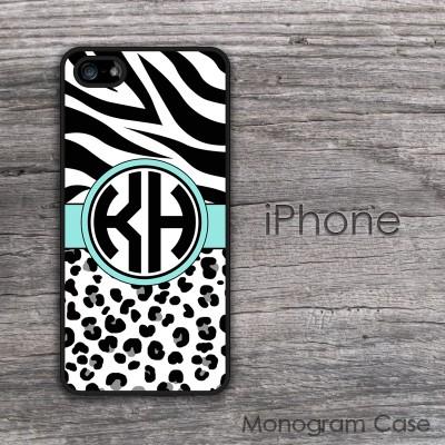 Animal print zebra and cheetah aqua ribbon monogrammed iPhone case
