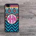 Ethnic teal black hotpink design iPhone hard case