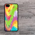 Green lavender yellow mixedcolored pastel paint pattern iPhone case