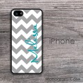 Grey chevron personalized name iPhone hard case