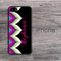 Modern bold colorful chevron personalized iPhone hard case