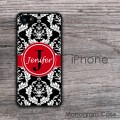 Black damask with red ribbon elegant design iPhone case