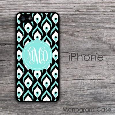 Peacock pattern aquamarine black monogrammed iPhone