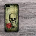 Skull and rose design vintage background iPhone cover