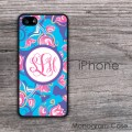 Tulips in blue and pink design monogrammed iPhone cover