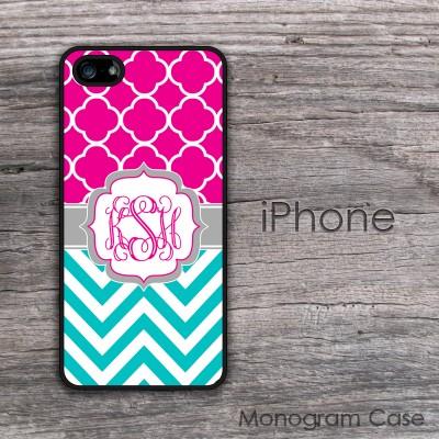 Turquoise chevron hot pink quatrefoil pattern iPhone case