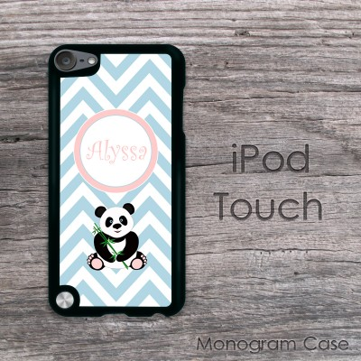 Baby blue chevron with panda print iPod touch case