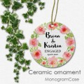 Engagement floral ceramic ornament bridal shower gift