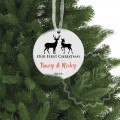 Deer ceramic ornament - our first christmas family gift