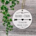 Customized porcelain ornament arrow wedding gift heart