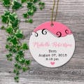 Baby pink porcelain ornament keepsake gift