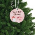 Baby`s first christmas customized ceramic ornament