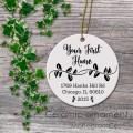 Ceramic ornament first home gift leafs print design
