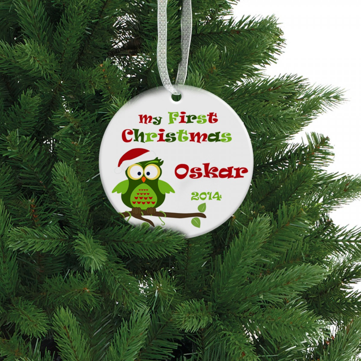 Colorful My First Christmas Ornament Baby Holiday Gift Monogramcase