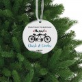 Couple bike Christmas ceramic ornament