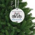 Couple bike Christmas ceramic ornament