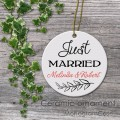 wedding porcelain ornament just merried sign
