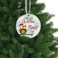 Kids Christmas ceramic ornament personalized owl