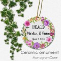 Custom floral engaged ceramic ornament