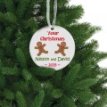 Gingerbread Christmas ceramic ornament for twins
