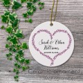 Heart design ceramic ornament happy couple names personalized