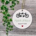 Love bikes print wedding ceramic ornament
