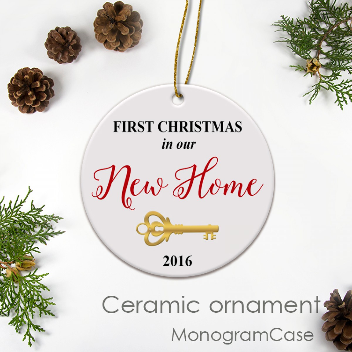 Our First Christmas Ceramic Ornament With Key