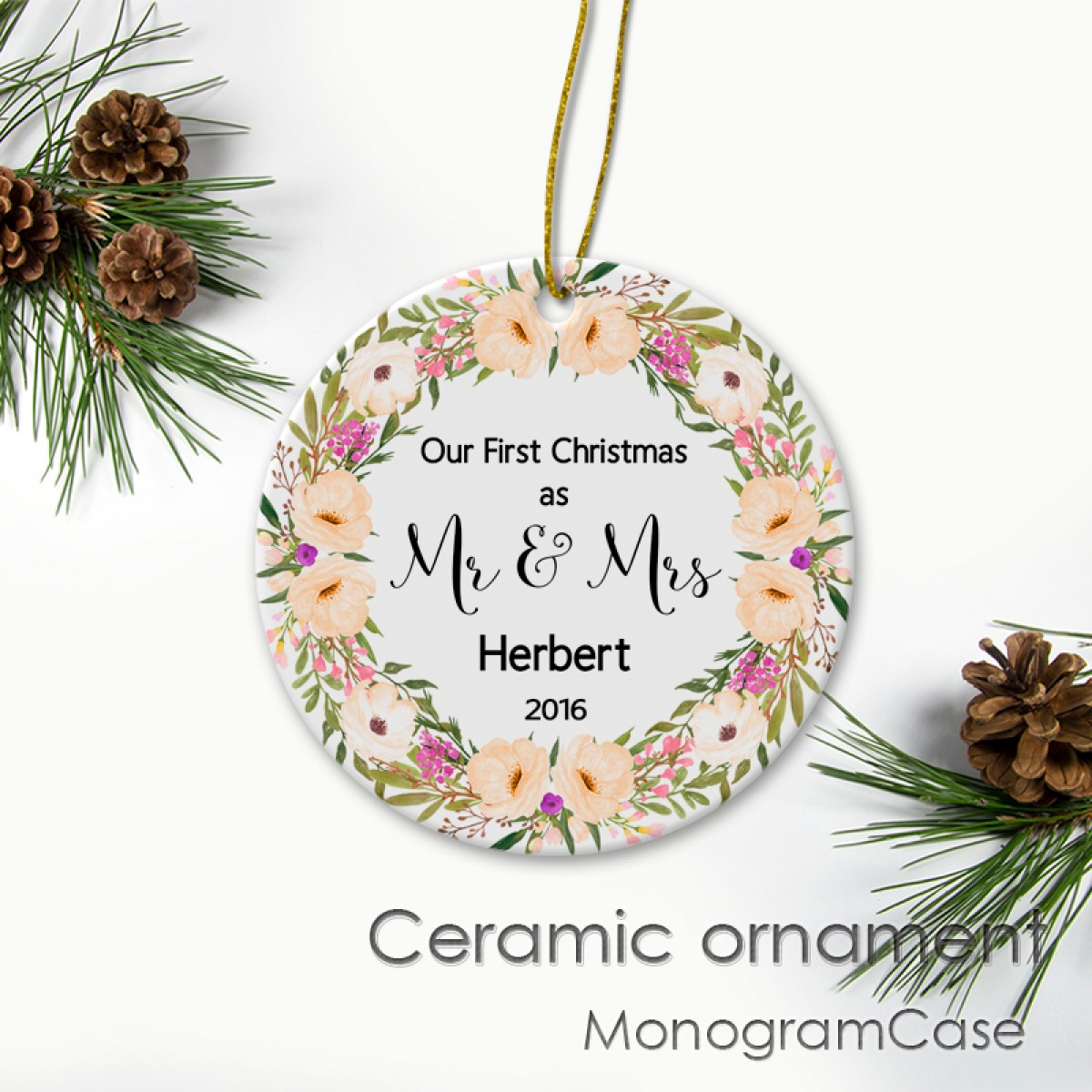 Christmas Ornaments Personalized.Personalized Ceramic Christmas Ornaments With Beautiful Flowers Wreath