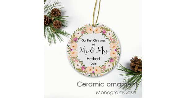 personalized ceramic christmas ornaments monogramcase - Ceramic Christmas Ornaments