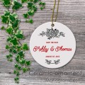 Personalized save the date wedding gift ceramic ornament hand drawn flowers