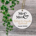 Personalized wedding gift Mr and Mrs design ceramic ornament