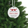 Lovebirds first Christmas wedding ceramic ornament
