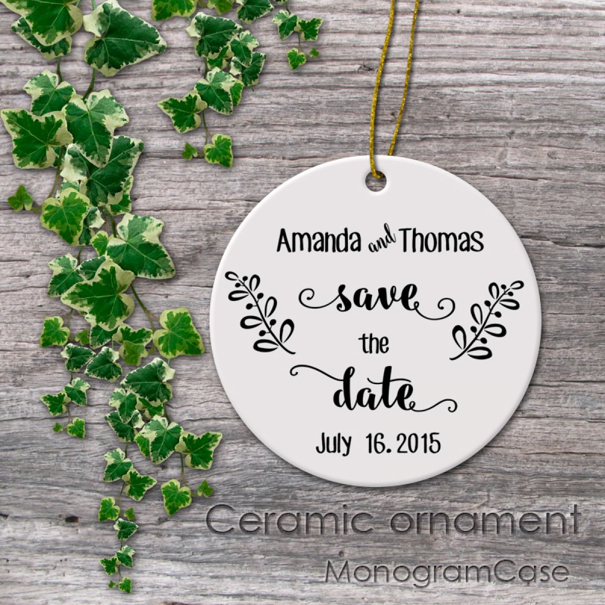 save the date wedding ceramic ornament gift monogramcase