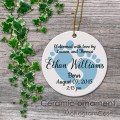Soft blue baby feet print newborn gift ceramic ornament