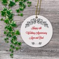 Stylish wedding anniversary keepsake ceramic ornament