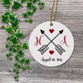 Wedding hearts arrow ceramic ornament personalized gift idea
