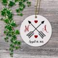 Wedding hearts arrow ceramic ornament personalized gift idea