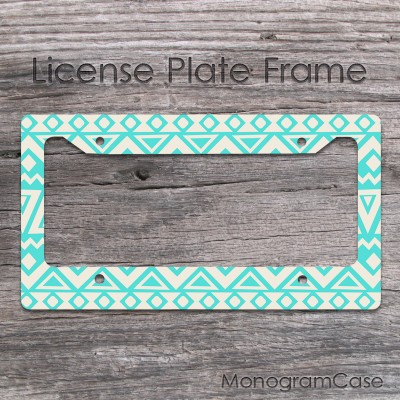 Aztec blue and cream pattern customized car frame