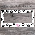 Black paws pink monogrammed license car frame