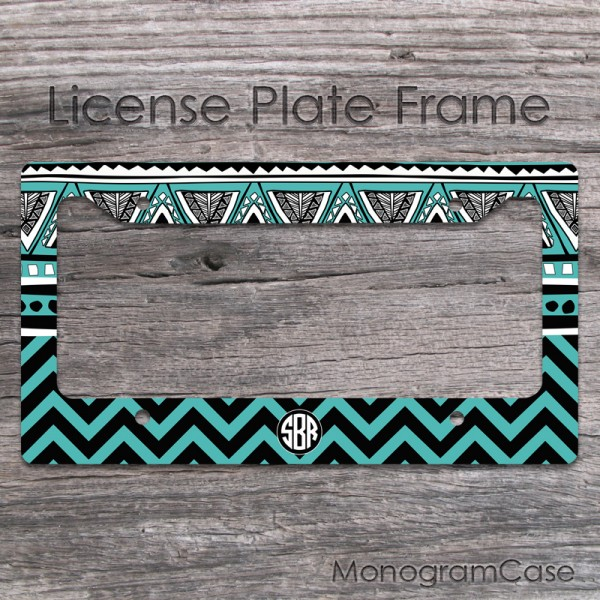 Black teal aztec tribal motifes design car tag monogrammed